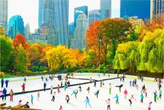 Mitchell Funk Ice Skaters in Central Park Rink Panoramic view of the Skyline Autumn Colors - 1756234