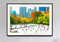 Mitchell Funk Ice Skaters in Central Park Rink Panoramic view of the Skyline Autumn Colors - 1756235