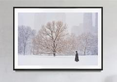 Mitchell Funk Man With Top Hat In Central Park During Snowstorm - 2095418