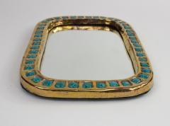 Mithe Espelt Mith ESPELT 1960s Gilded Ceramic Mirror not Lembo  - 1565745