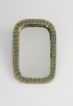 Mithe Espelt Mith ESPELT 1960s Gilded Ceramic Mirror not Lembo  - 1565746