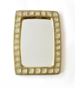 Mithe Espelt Mithe Espelt French Gold Glazed Ceramic and Fused Glass Wall Mirror - 1965702