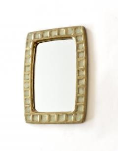 Mithe Espelt Mithe Espelt French Gold Glazed Ceramic and Fused Glass Wall Mirror - 1965704