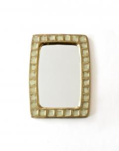 Mithe Espelt Mithe Espelt French Gold Glazed Ceramic and Fused Glass Wall Mirror - 1965705