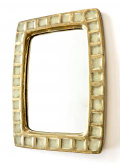 Mithe Espelt Mithe Espelt French Gold Glazed Ceramic and Fused Glass Wall Mirror - 1965706