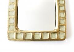 Mithe Espelt Mithe Espelt French Gold Glazed Ceramic and Fused Glass Wall Mirror - 1965707