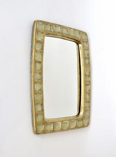 Mithe Espelt Mithe Espelt French Gold Glazed Ceramic and Fused Glass Wall Mirror - 1965708