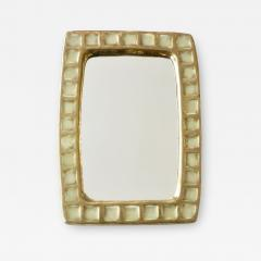 Mithe Espelt Mithe Espelt French Gold Glazed Ceramic and Fused Glass Wall Mirror - 1966499