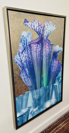 Mixed Media Painting on Canvas with 23 Karat Gold Leaf Titled Trumpets Signed - 1597393