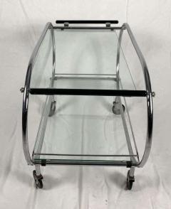 Mobile Art Deco Serving Trolley Chromed Tubular Steel Glass France circa 1925 - 1808411