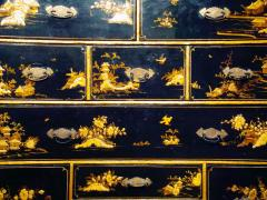 Mobile secretary in black lacquer painted in chinoiserie France 1700 - 1314193