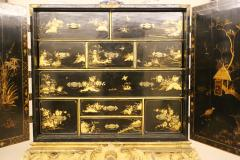 Mobile secretary in black lacquer painted in chinoiserie France 1700 - 1314217
