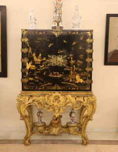 Mobile secretary in black lacquer painted in chinoiserie France 1700 - 1314218