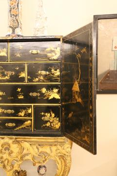 Mobile secretary in black lacquer painted in chinoiserie France 1700 - 1314223