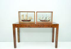 Model Ship in a Glass Case with Teak Frame France 1960s B - 1827529