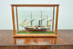 Model Ship in a Glass Case with Teak Frame France 1960s B - 1827530