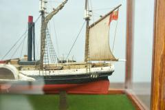 Model Ship in a Glass Case with Teak Frame France 1960s B - 1827532