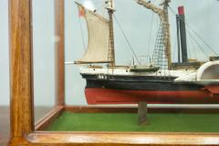 Model Ship in a Glass Case with Teak Frame France 1960s B - 1827533