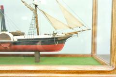 Model Ship in a Glass Case with Teak Frame France 1960s B - 1827535