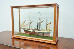 Model Ship in a Glass Case with Teak Frame France 1960s B - 1827536
