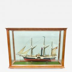 Model Ship in a Glass Case with Teak Frame France 1960s B - 1829397