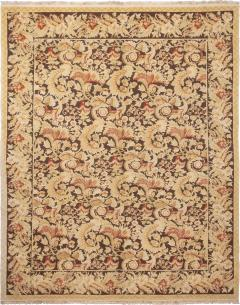 Modern 18th Century Style Transitional Brown and Beige Wool Rug - 1204398