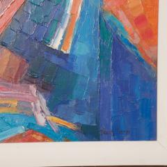 Modern Art 1970s Vibrant Blue Abstract Oil Painting on Canvas by Travis Timme - 1607598