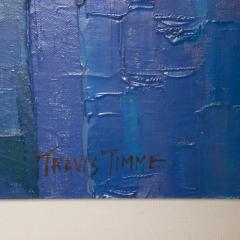 Modern Art 1970s Vibrant Blue Abstract Oil Painting on Canvas by Travis Timme - 1607601