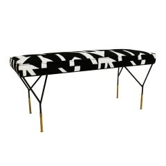 Modern Black Lacquered Iron and Patterned Cotton 1970s Italian Stool - 2020266