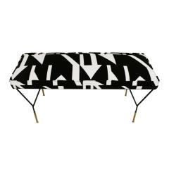 Modern Black Lacquered Iron and Patterned Cotton 1970s Italian Stool - 2020267