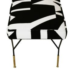 Modern Black Lacquered Iron and Patterned Cotton 1970s Italian Stool - 2020269