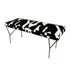Modern Black Lacquered Iron and Patterned Cotton 1970s Italian Stool - 2020270