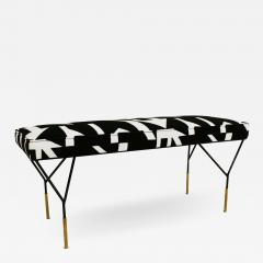 Modern Black Lacquered Iron and Patterned Cotton 1970s Italian Stool - 2021692
