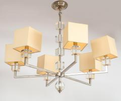 Modern Chrome and Lucite Chandelier - 1790557