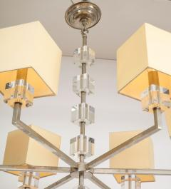 Modern Chrome and Lucite Chandelier - 1790559