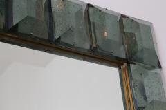 Modern Italian Aqua Green Faceted Glass Mirror - 1910146