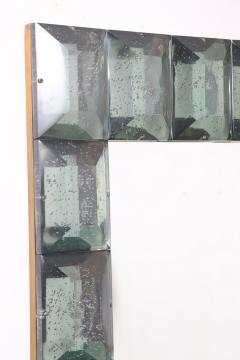 Modern Italian Aqua Green Faceted Glass Mirror - 1910147