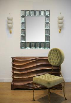 Modern Italian Aqua Green Faceted Glass Mirror - 1910149