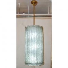 Modern Italian Aquamarine Crystal Murano Glass Tall Brass Lantern Chandelier - 1088225