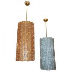 Modern Italian Aquamarine Crystal Murano Glass Tall Brass Lantern Chandelier - 1088227