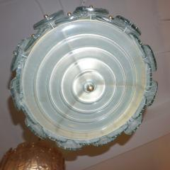 Modern Italian Aquamarine Crystal Murano Glass Tall Brass Lantern Chandelier - 1088228