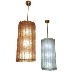 Modern Italian Aquamarine Crystal Murano Glass Tall Brass Lantern Chandelier - 1088229