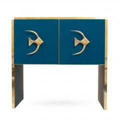 Modern Italian Custom Brass Edged Fish Marine Teal Blue Cabinet - 2110785