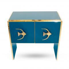 Modern Italian Custom Brass Edged Fish Marine Teal Blue Cabinet - 2110786