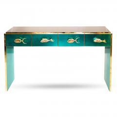 Modern Italian Custom Brass Edged Fish Marine Teal Blue Cabinet - 2110788