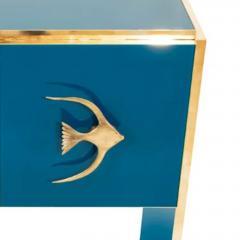 Modern Italian Custom Brass Edged Fish Marine Teal Blue Cabinet - 2110790