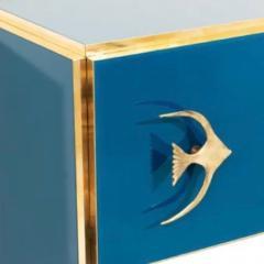 Modern Italian Custom Brass Edged Fish Marine Teal Blue Cabinet - 2110791