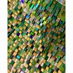 Modern Italian Jewel Like Green Yellow 24Kt Gold Murano Art Glass Mosaic Bowl - 407419