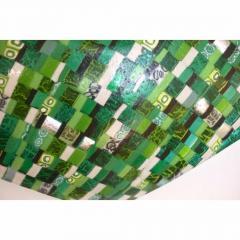 Modern Italian Jewel Like Green Yellow 24Kt Gold Murano Art Glass Mosaic Bowl - 407422