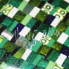 Modern Italian Jewel Like Green Yellow 24Kt Gold Murano Art Glass Mosaic Bowl - 407426